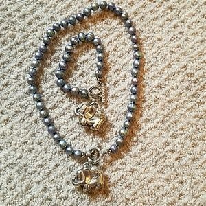 Pearl and Silver Elephant Necklace and Bracelet